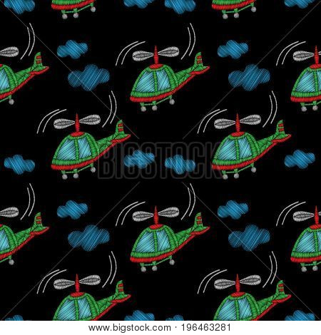 Embroidery stitches imitation seamless pattern with little helicopter. Vector embroidery traditional helicopter on black background.