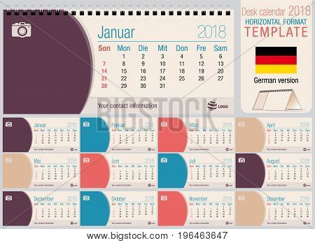 Useful desk triangle calendar 2018 template with space to place photos. Size: 220mm x 100mm. Format horizontal. Vector image. German version