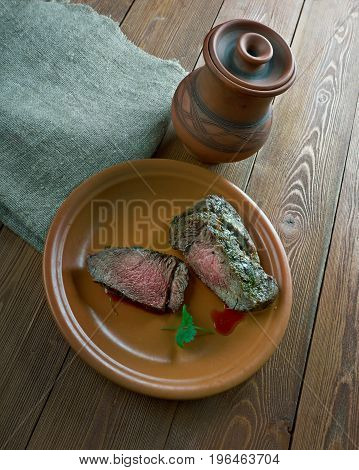 Spiced Corned Silverside Beef. close up meal