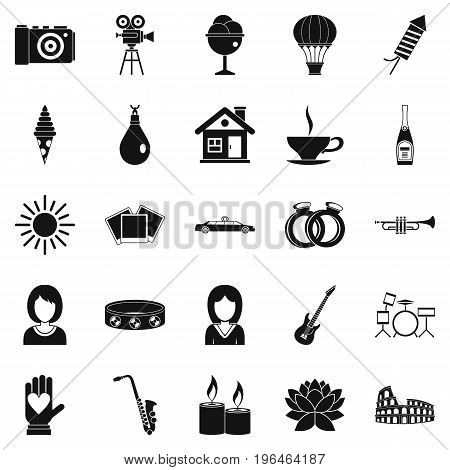 Photo icons set. Simple set of 25 photo vector icons for web isolated on white background