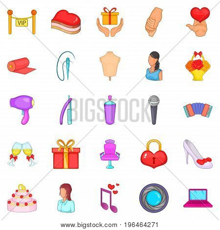 Nuptial icons set. Cartoon set of 25 nuptial vector icons for web isolated on white background