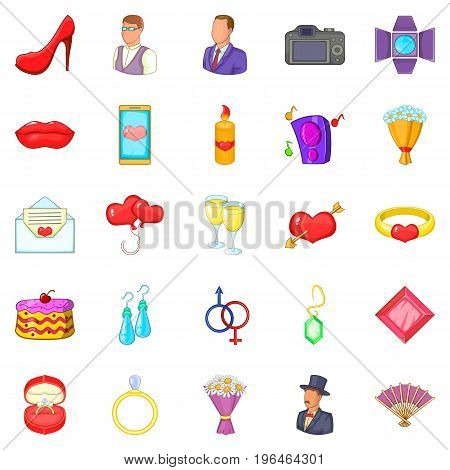 Marriage icons set. Cartoon set of 25 marriage vector icons for web isolated on white background