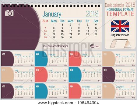 Useful desk triangle calendar 2018 template with space to place photos. Size: 220mm x 100mm. Format horizontal. Vector image. English version