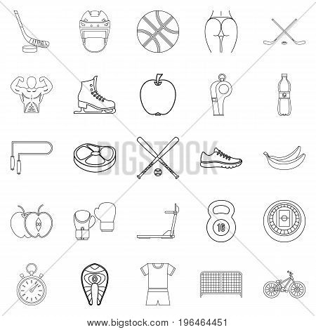 Exercise icons set. Outline set of 25 exercise vector icons for web isolated on white background