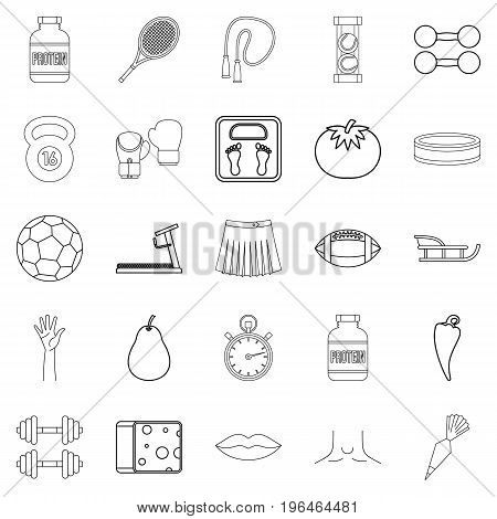 Track and field icons set. Outline set of 25 track and field vector icons for web isolated on white background