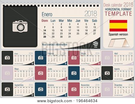 Useful desk triangle calendar 2018 template with space to place photos. Size: 220mm x 100mm. Format horizontal. Vector image. Spanish version