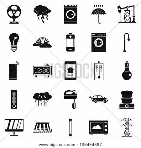 Electrical energy icons set. Simple set of 25 electrical energy vector icons for web isolated on white background