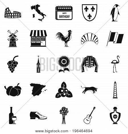 Winery icons set. Simple set of 25 winery vector icons for web isolated on white background