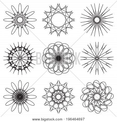 Set of contour spirographic symbols. vector illustration.