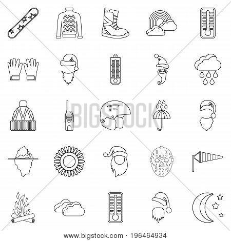 Hockey stuff icons set. Outline set of 25 hockey stuff vector icons for web isolated on white background