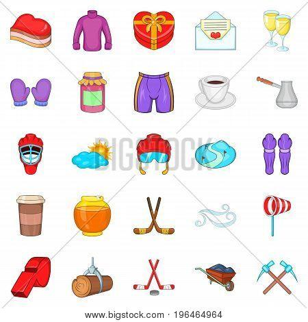 Hockey clothing icons set. Cartoon set of 25 hockey clothing vector icons for web isolated on white background