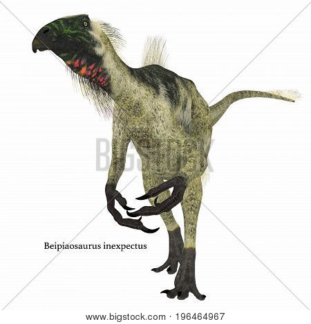 Beipiaosaurus Dinosaur on White with Font 3d illustration - Beipiaosaurus was a herbivorous theropod dinosaur that lived in China in the Cretaceous Period.