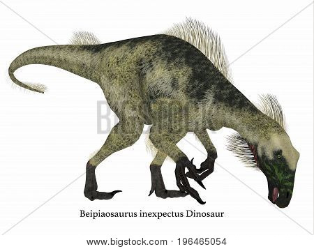 Beipiaosaurus Dinosaur Side Profile with Font 3d illustration - Beipiaosaurus was a herbivorous theropod dinosaur that lived in China in the Cretaceous Period.
