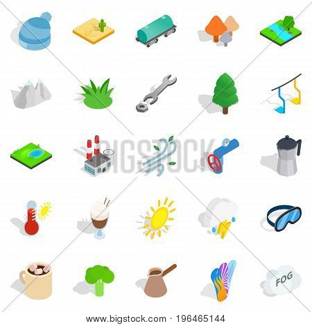 Cozy place icons set. Isometric set of 25 cozy place vector icons for web isolated on white background