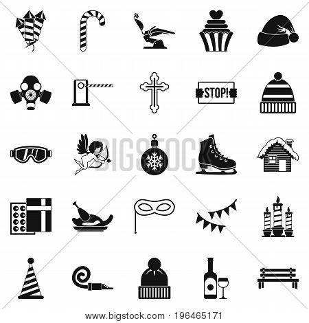 Winter holiday icons set. Simple set of 25 winter holiday vector icons for web isolated on white background