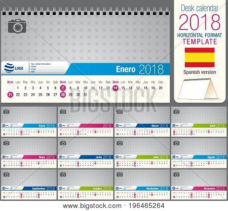 Useful desk triangle calendar 2018 template, ready for printing. Size: 22 cm x 12 cm. Format horizontal. Spanish version