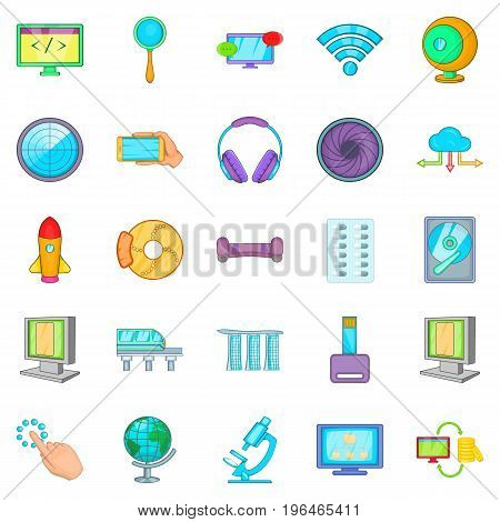Tech icons set. Cartoon set of 25 tech vector icons for web isolated on white background