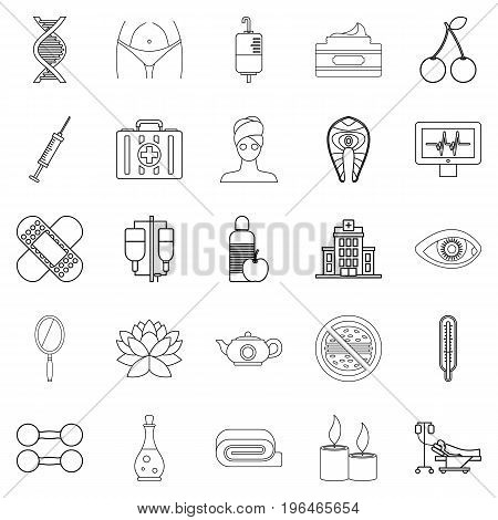 Spa icons set. Outline set of 25 spa vector icons for web isolated on white background