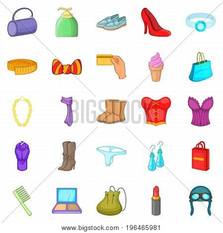 Underwear icons set. Cartoon set of 25 purchases vector icons for web isolated on white background