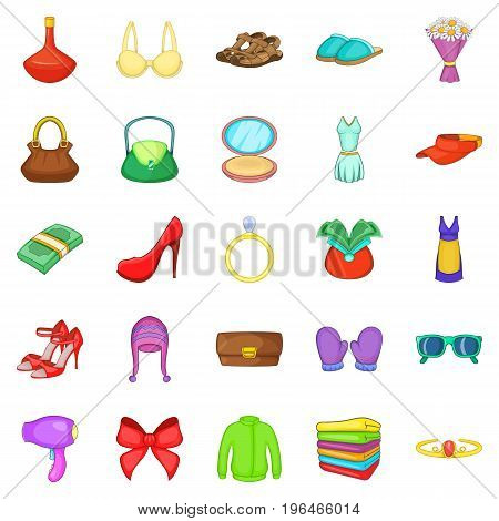 Purchases icons set. Cartoon set of 25 purchases vector icons for web isolated on white background