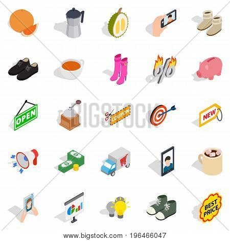New collection icons set. Isometric set of 25 new collection vector icons for web isolated on white background