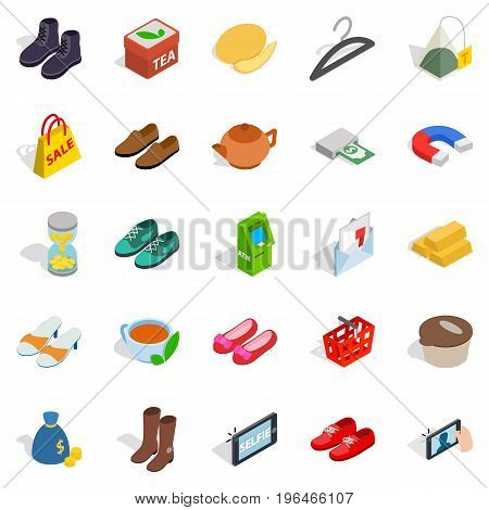 Women clothing icons set. Isometric set of 25 women clothing vector icons for web isolated on white background