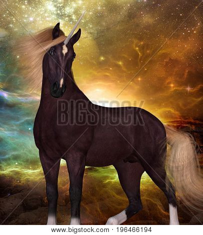 Liver Chestnut Unicorn 3d illustration - A Unicorn is a creature of myth and fantasy and has cloven hooves forehead horn and a beard.