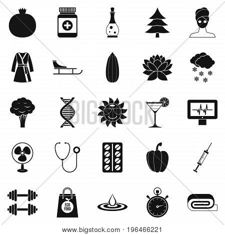 Gym icons set. Simple set of 25 gym vector icons for web isolated on white background