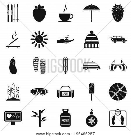 Health icons set. Simple set of 25 health vector icons for web isolated on white background