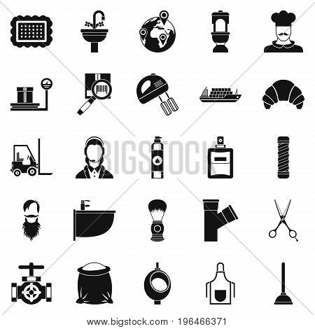 Service staff icons set. Simple set of 25 service staff vector icons for web isolated on white background