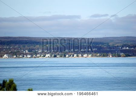 A view of Harbor Springs and Little Traverse Bay, as seen from from Sunset Park, in Petoskey, Michigan, during November.