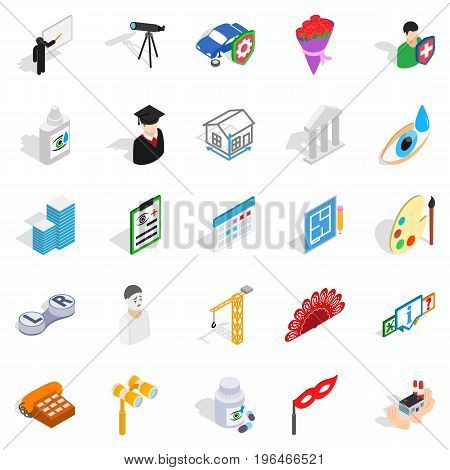 Creative idea icons set. Isometric set of 25 creative idea vector icons for web isolated on white background