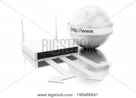 3D World With Wifi Router