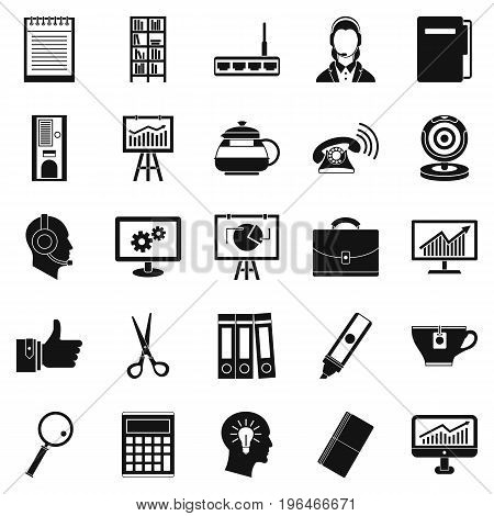 Business support icons set. Simple set of 25 business support vector icons for web isolated on white background