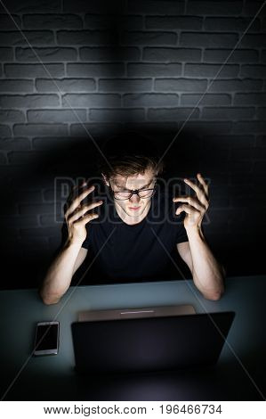 Angry Sad Businessman Workaholic Working Late At Home