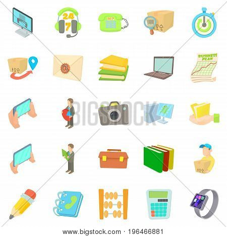 Delivery icons set. Cartoon set of 25 delivery vector icons for web isolated on white background