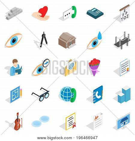 Engineers icons set. Isometric set of 25 engineers vector icons for web isolated on white background