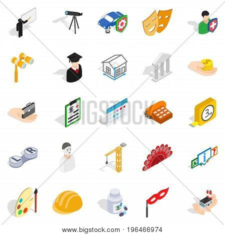 Creative work icons set. Isometric set of 25 creative work vector icons for web isolated on white background