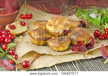 Freshly Baked Cherry Muffins