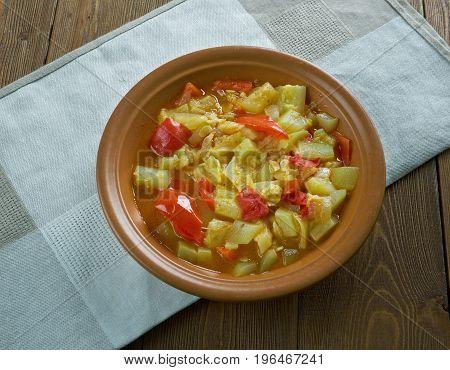 Mixed vegetable kurma. Indian Dish. close up