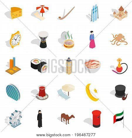 World food icons set. Isometric set of 25 world food vector icons for web isolated on white background
