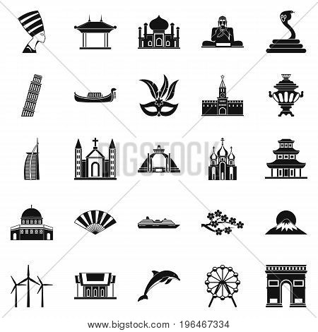 World religion icons set. Simple set of 25 world religion vector icons for web isolated on white background