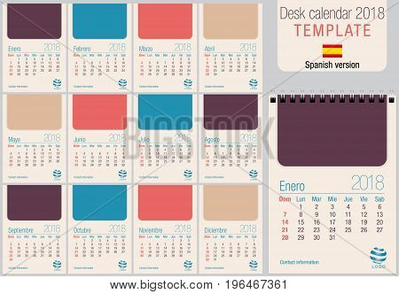 Useful desk calendar 2018 template in pastel colors, ready for printing on laser or offset. Size: 150mm x 210mm. Format A5 vertical. Spanish version