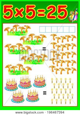 Educational page for children with multiplication by five. Vector image.