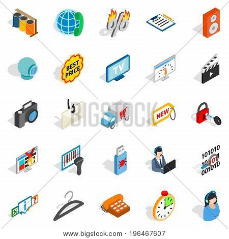 Shop icons set. Isometric set of 25 shop vector icons for web isolated on white background
