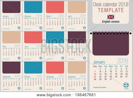 Useful desk calendar 2018 template in pastel colors, ready for printing on laser or offset. Size: 150mm x 210mm. Format A5 vertical. English version