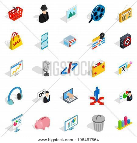 Score icons set. Isometric set of 25 score vector icons for web isolated on white background