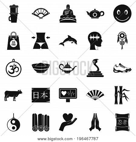 Buddhism icons set. Simple set of 25 buddhism vector icons for web isolated on white background