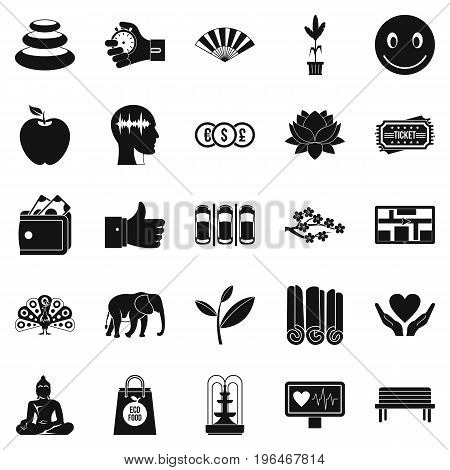 Yoga studio icons set. Simple set of 25 yoga studio vector icons for web isolated on white background