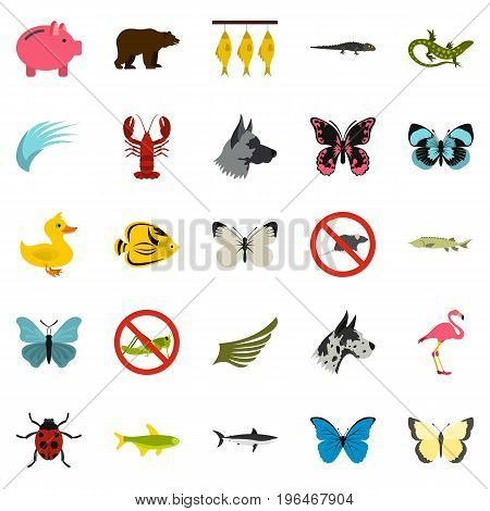 Insect icons set. Flat set of 25 insect vector icons for web isolated on white background